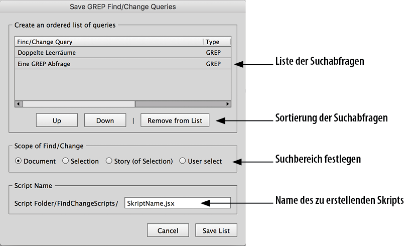 Screenshot – Chain GREP Dialog