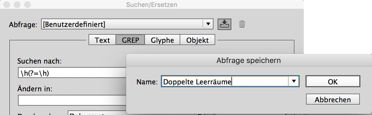Screenshot – GREP-Abfrage speichern